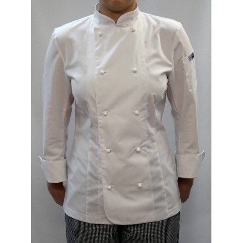 FH Traditional Chef Coat White Poly Cotton Short Sleeve